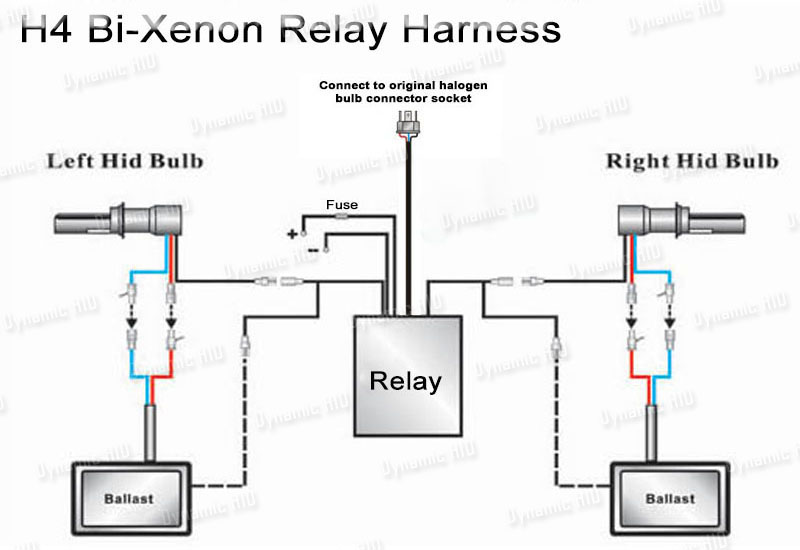 relay wiring harness for bi xenon hid xenon kit 9004. Black Bedroom Furniture Sets. Home Design Ideas